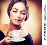 coffee. beautiful girl drinking ... | Shutterstock . vector #120022432