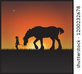 a gentle shire horse and young...   Shutterstock .eps vector #1200232678