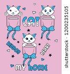 cute cats  slogan print vector | Shutterstock .eps vector #1200235105