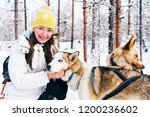 girl and husky dogs in sled in... | Shutterstock . vector #1200236602