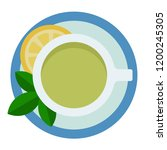 green tea in a cup with a... | Shutterstock .eps vector #1200245305