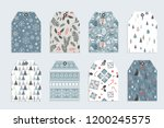 christmas gift tag set in retro ... | Shutterstock .eps vector #1200245575
