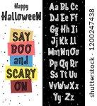 happy halloween text banner  ...   Shutterstock .eps vector #1200247438