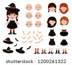 adorable little witch... | Shutterstock .eps vector #1200261322
