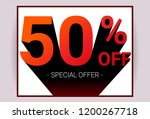50  off sale. red color 3d text ... | Shutterstock .eps vector #1200267718
