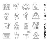 protest action linear icons set.... | Shutterstock .eps vector #1200274645