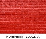 Red painted brick wall background. - stock photo