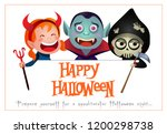 happy halloween lettering with... | Shutterstock .eps vector #1200298738