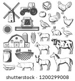 farming  agriculture and cattle ... | Shutterstock .eps vector #1200299008
