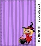 halloween template with little... | Shutterstock .eps vector #1200301105