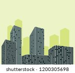 silhouette of skyscrapers... | Shutterstock .eps vector #1200305698
