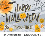 halloween poster with lettering ... | Shutterstock .eps vector #1200305758