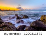 sunset views and water flowing... | Shutterstock . vector #1200311572