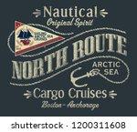 northwest arctic ocean sailboat ... | Shutterstock .eps vector #1200311608