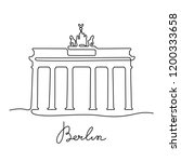 berlin continuous line drawing  ... | Shutterstock .eps vector #1200333658