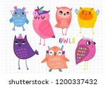hand drawn various cute owls.... | Shutterstock .eps vector #1200337432