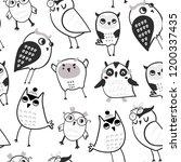 hand drawn various cute owls.... | Shutterstock .eps vector #1200337435