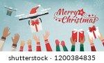 drones with santa's hat... | Shutterstock .eps vector #1200384835