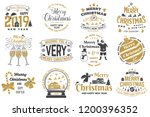 set of merry christmas and 2019 ... | Shutterstock .eps vector #1200396352