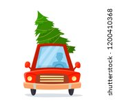 car with driver and christmas... | Shutterstock .eps vector #1200410368