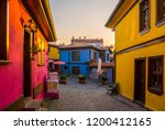 street with colorful houses and ...   Shutterstock . vector #1200412165