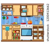 kitchen with a set of furniture.... | Shutterstock .eps vector #1200413662