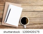 top view of notebook pencil and ... | Shutterstock . vector #1200420175