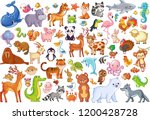 Stock vector vector set of animals home favorites mammals marine life illustration in cartoon style 1200428728