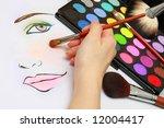 makeup artist is sketching...   Shutterstock . vector #12004417