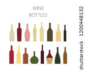 wine bottles colorful icon set. ... | Shutterstock .eps vector #1200448132