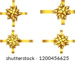 golden  satin gift ribbon and... | Shutterstock .eps vector #1200456625