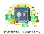safe box with money savings... | Shutterstock .eps vector #1200465742