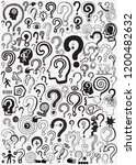 question mark   doodle set | Shutterstock .eps vector #1200482632