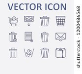 outline 12 waste icon set. bin  ... | Shutterstock .eps vector #1200486568