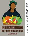 world rural woman's day vector... | Shutterstock .eps vector #1200491158