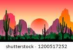 sunset in a stony desert with... | Shutterstock .eps vector #1200517252