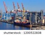 bulk carrier near the grain... | Shutterstock . vector #1200522838
