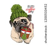 Stock vector adorable beige puppy pug in a green knitted hat and with a plastic cup happy coffee day 1200533452