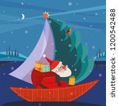 cute santa claus sailing in... | Shutterstock .eps vector #1200542488