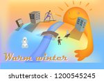 walk in the fresh air in winter.... | Shutterstock .eps vector #1200545245