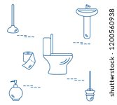 vector illustration with toilet ... | Shutterstock .eps vector #1200560938
