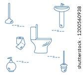 vector illustration with toilet ... | Shutterstock .eps vector #1200560938