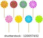 colorful spiral lollipops. | Shutterstock .eps vector #120057652