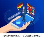 isometric online voice... | Shutterstock .eps vector #1200585952