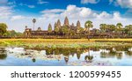 Small photo of Panorama of Angkor Wat temple in Siem Reap, Cambodia in a summer day