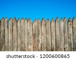 fence made of sharp wooden... | Shutterstock . vector #1200600865