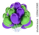 happy birthday balloons purple... | Shutterstock . vector #1200615385