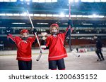 win the trophy in ice hockey ... | Shutterstock . vector #1200635152