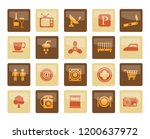 hotel and motel objects icons... | Shutterstock .eps vector #1200637972