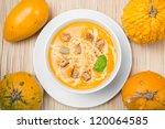 pumpkin soup in a white plate | Shutterstock . vector #120064585